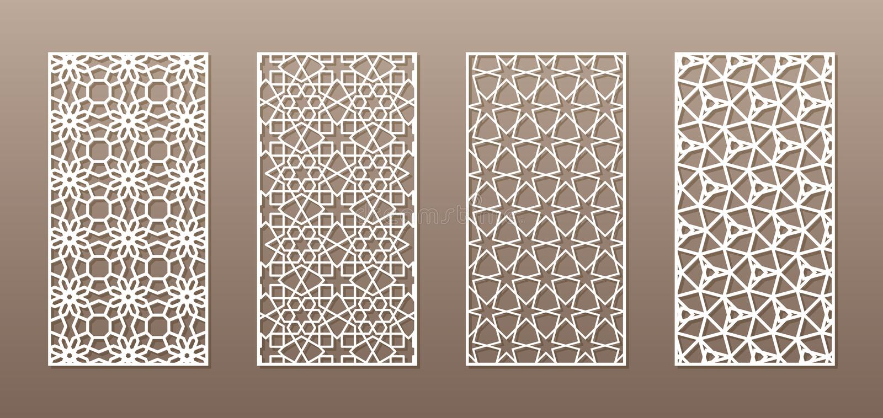 Silhouette transparente avec le modèle arabe, modèle géométrique de girih musulman Dessin approprié au fond, invitation illustration libre de droits