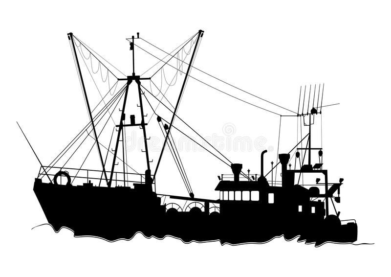Silhouette of a trawler. Fishing. Boat on a white background. Flat vector stock illustration