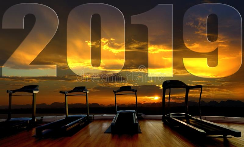 Treadmill interior with forest 2019 happy new year. Silhouette Treadmill interior with forest river sky cloud view in sunrise health, Empty space platform and royalty free illustration