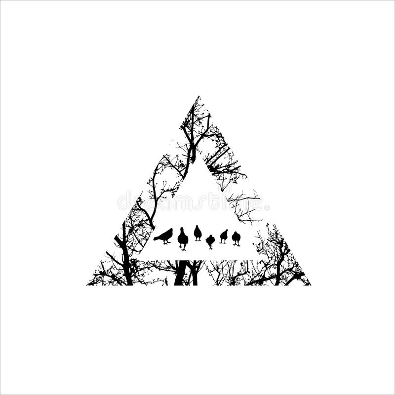 Silhouette of tree branch. tree with triangle shape. tattoo design. stock photography