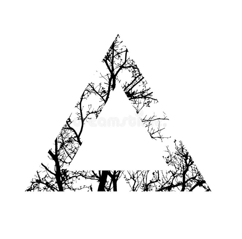 Silhouette of tree branch. tree with triangle shape. tattoo design. stock photos