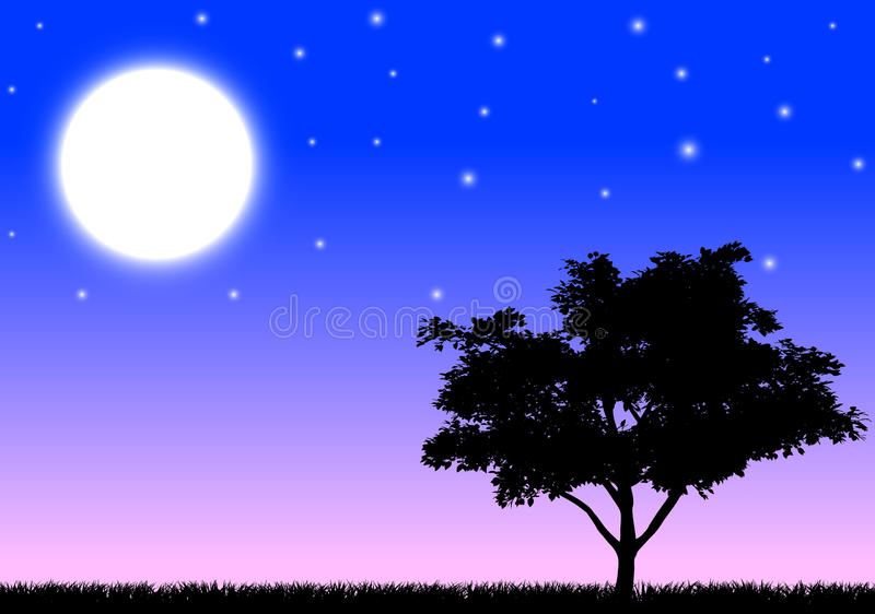 Silhouette of a tree in the night. Silhouette of a tree and grass in the night with moon and stars stock illustration