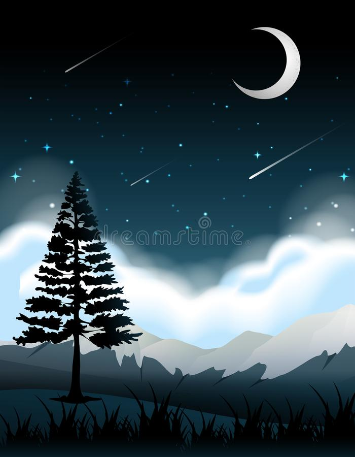 A silhouette tree at night. Illustration royalty free illustration