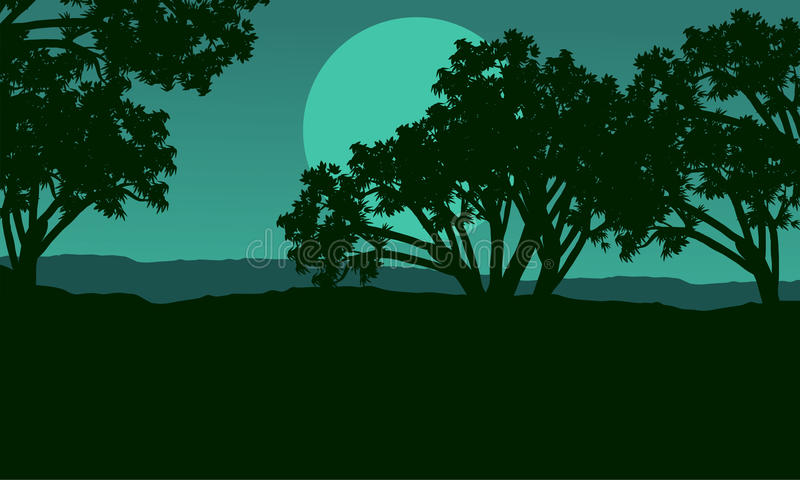 Silhouette of tree at night landscape. Vector art royalty free illustration