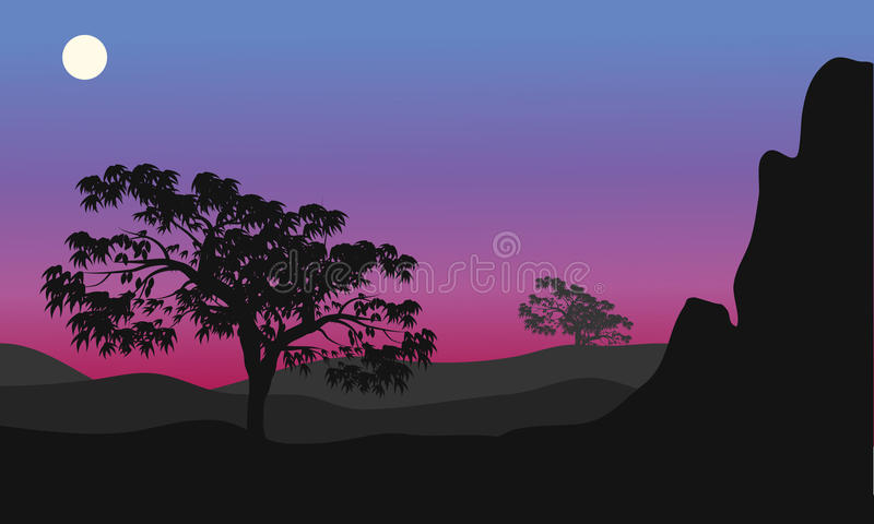 Silhouette of tree at the night. With purple backgrounds vector illustration