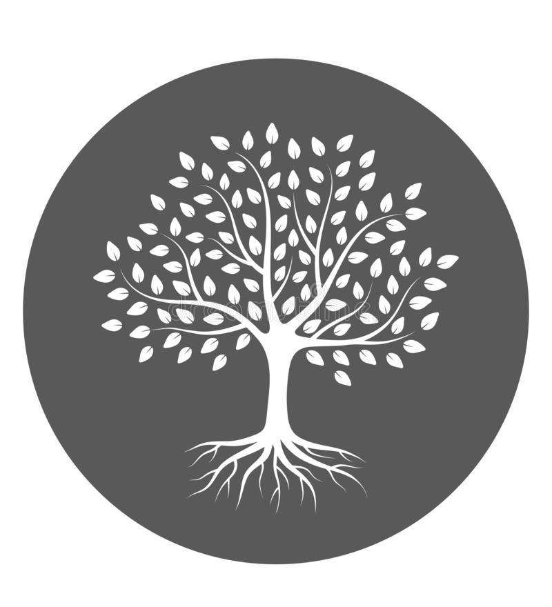Silhouette of a tree with roots and leaves in circle. Vector illustration logo. stock illustration