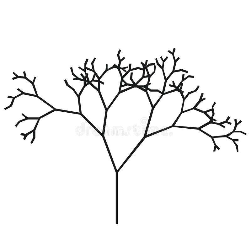 The silhouette of a tree with a trunk and branches without leaves. Black and white vector icon. A simple flat style with lines stock illustration