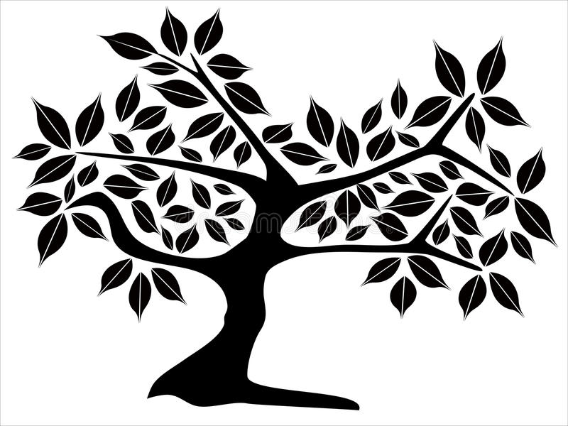 silhouette treen stock illustrationer
