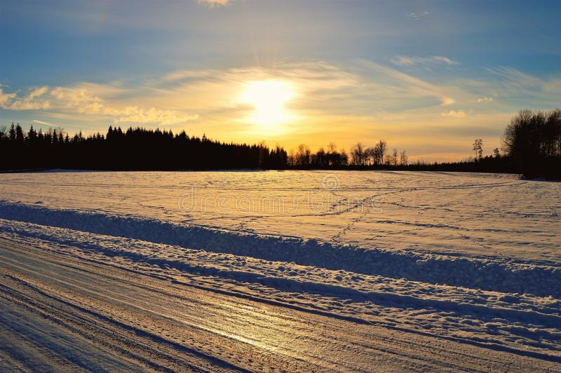 Silhouette of Trees in Front of Snow Field Durin Sunrise royalty free stock image