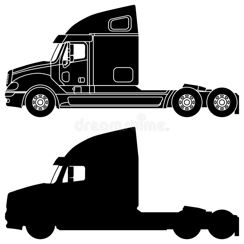Silhouette of a truck Freightliner columbia. Silhouette Freightliner columbia truck isolated on a white background vector illustration