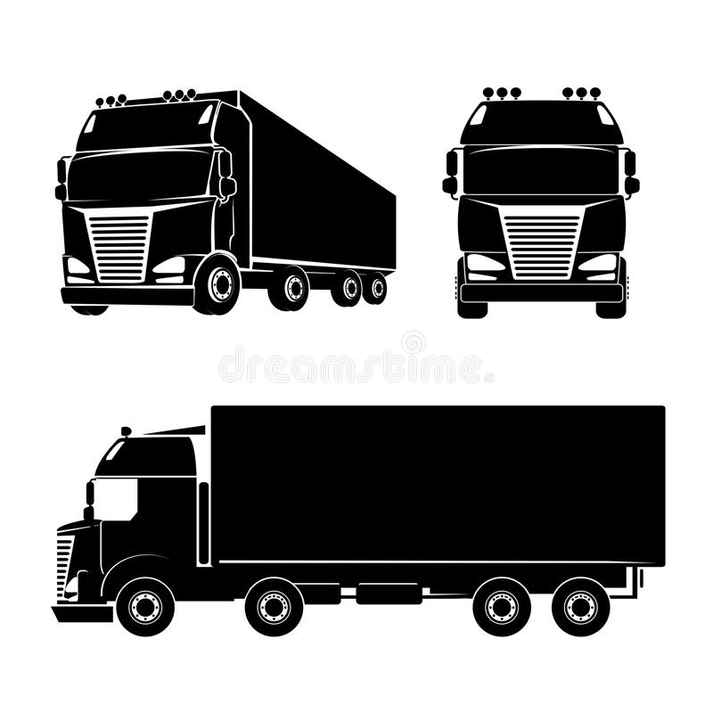 Silhouette truck icon royalty free illustration