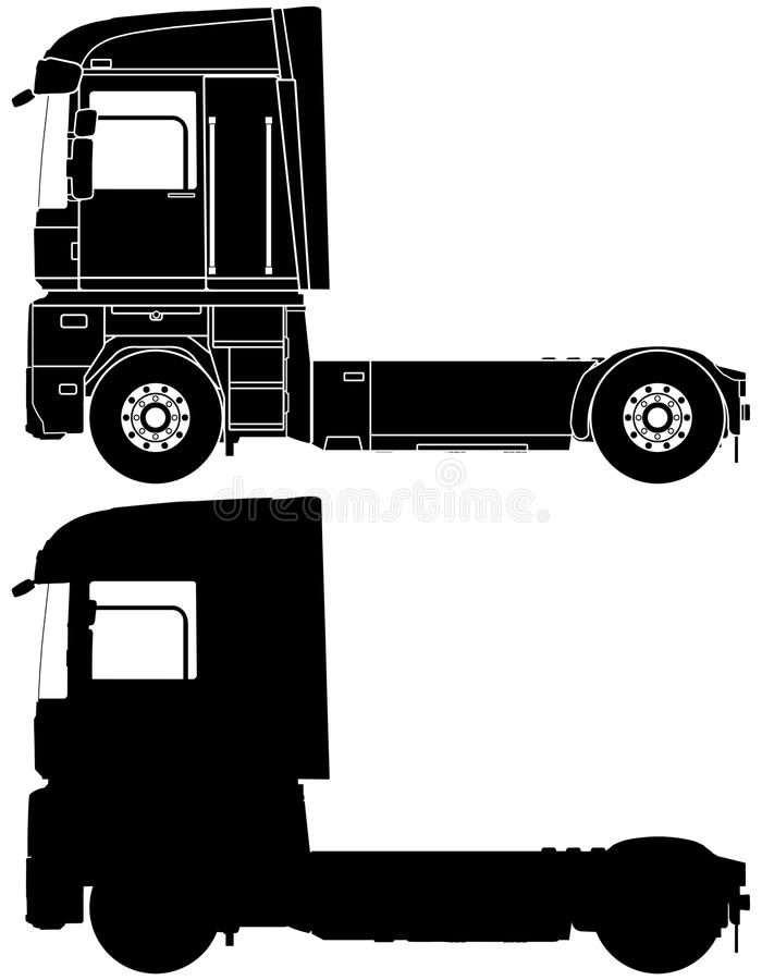Silhouette of a truck Renault Magnum. vector illustration