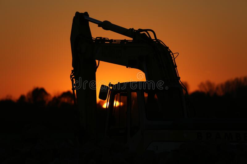 Silhouette of Truck during Sunset stock photography