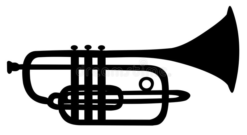 Silhouette of trumpet royalty free stock image