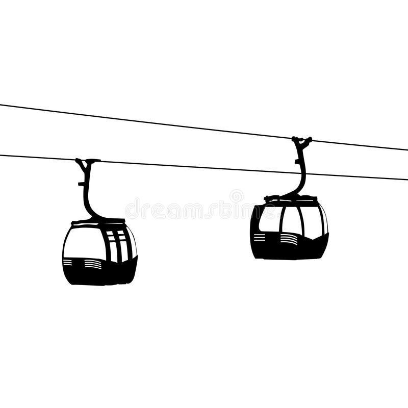 Silhouette of two air cable cabins vector illustration vector illustration