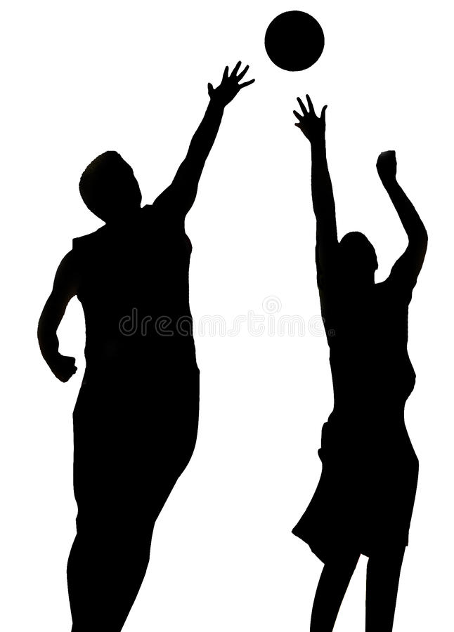 silhouette of two Basketball Players stock photo