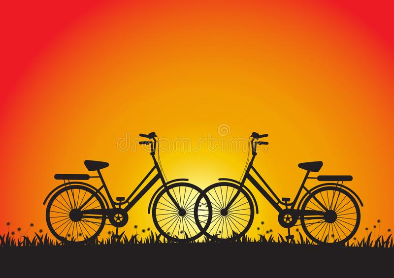 Silhouette of two bicycles during sunset in meadow. Vector illustration vector illustration
