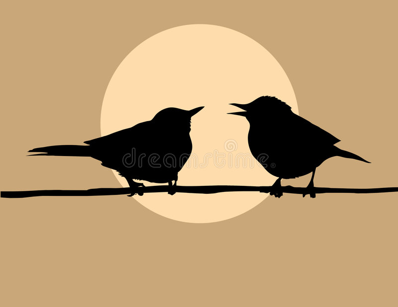Silhouette two birds vector illustration