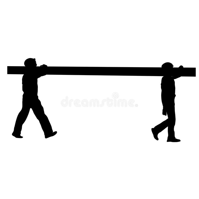 Silhouette of two construction workers carry pipe. Vector illustration stock illustration