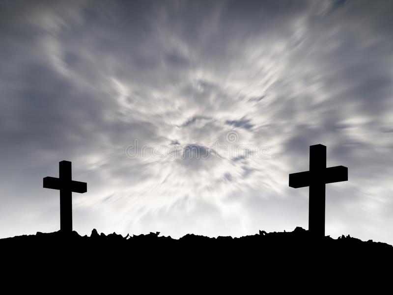 Grave, silhouette of two cross on hill with motion dark gray storm clouds on dramatic moody sky background. Silhouette of two cross on hill with motion dark gray stock photos