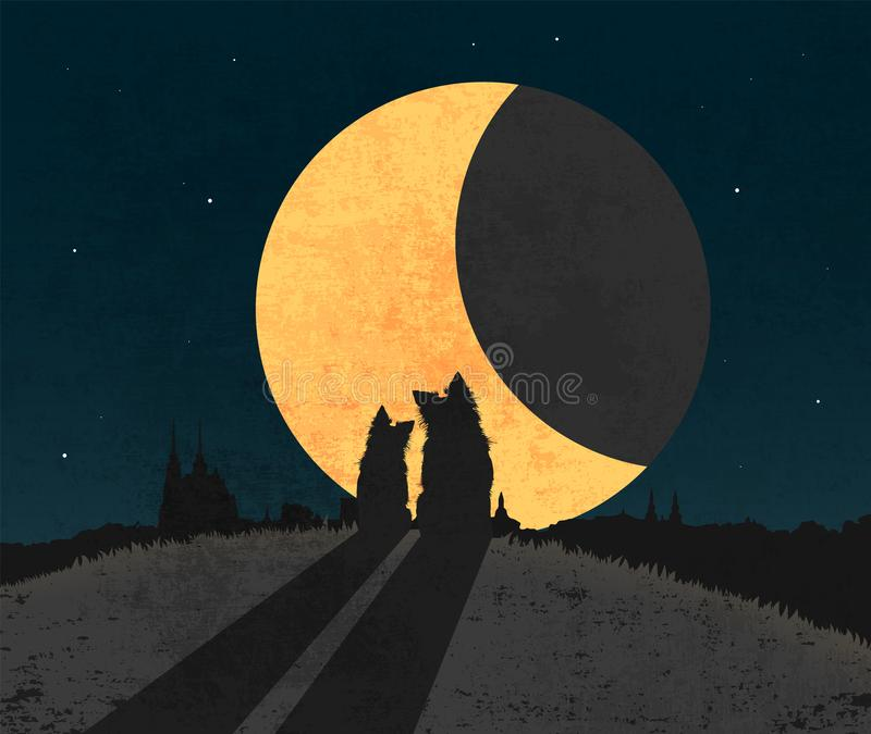 Silhouette of two dogs sitting in grass on the top of hill over city a front of big moon vector illustration