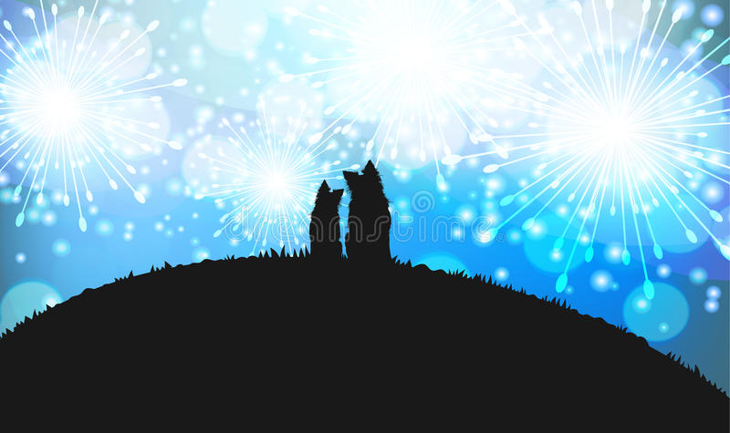 Silhouette of Two Dogs Sitting on the Top of the Hill with Blue Fireworks on the Background royalty free illustration