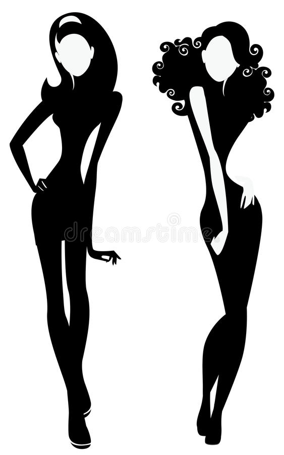 silhouette of a two fashion girls stock illustration