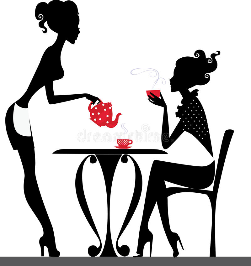 Download Silhouette Of A Two Girls Drink Tea Stock Vector - Illustration of table, conversation: 31721045