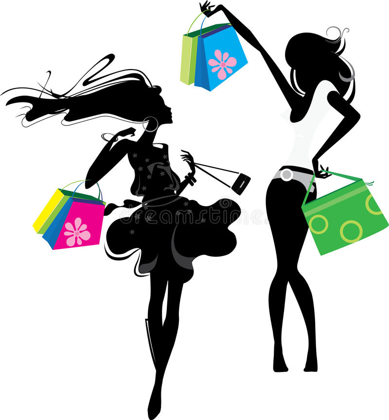 Silhouette of a girl with bags. Silhouette of a two happiness girls after shopping vector illustration