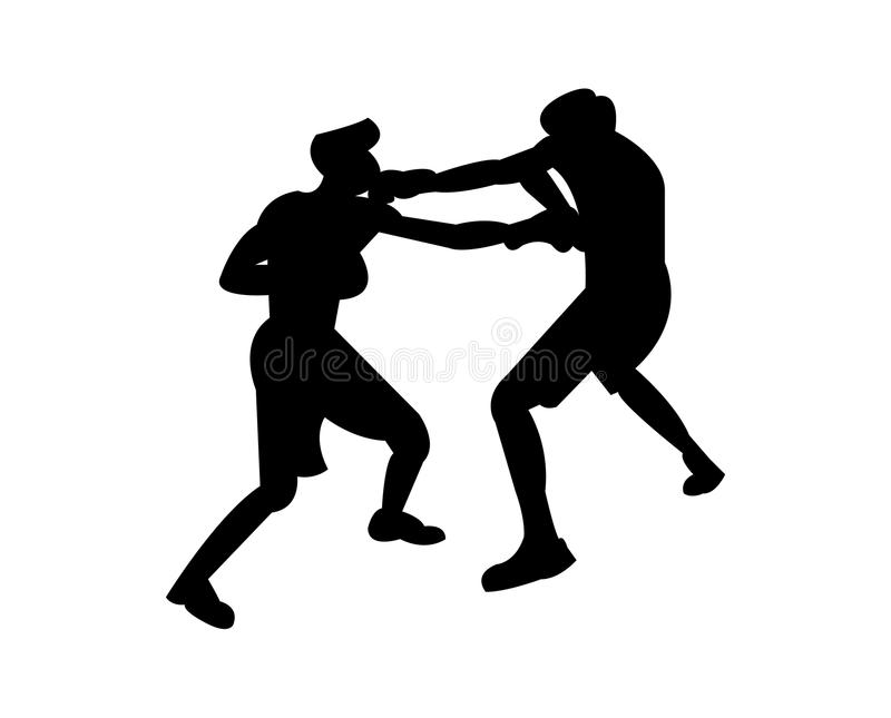 Boxing match practice silhouette vector illustration