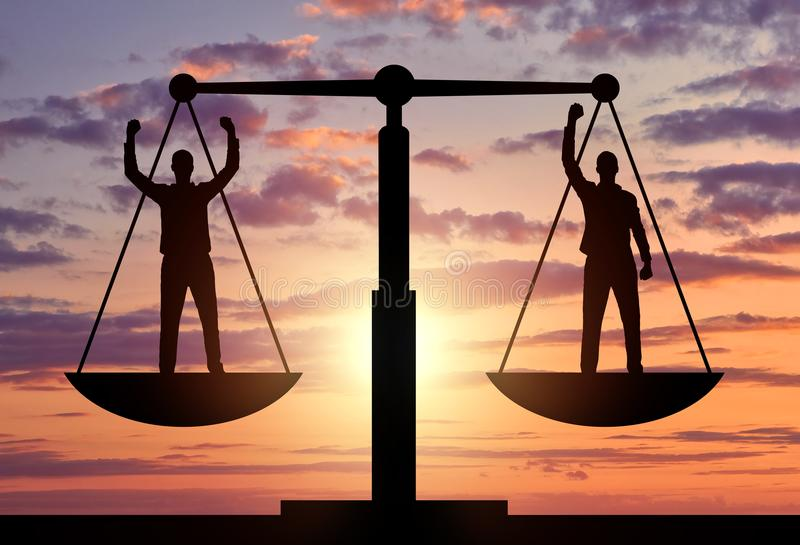 Silhouette of two men are equal to standing on the scales of justice. stock illustration