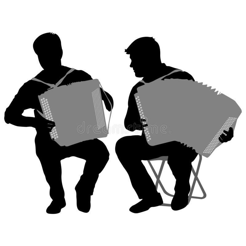 Silhouette of two musicians bayan on white background, vector illustration.  stock illustration