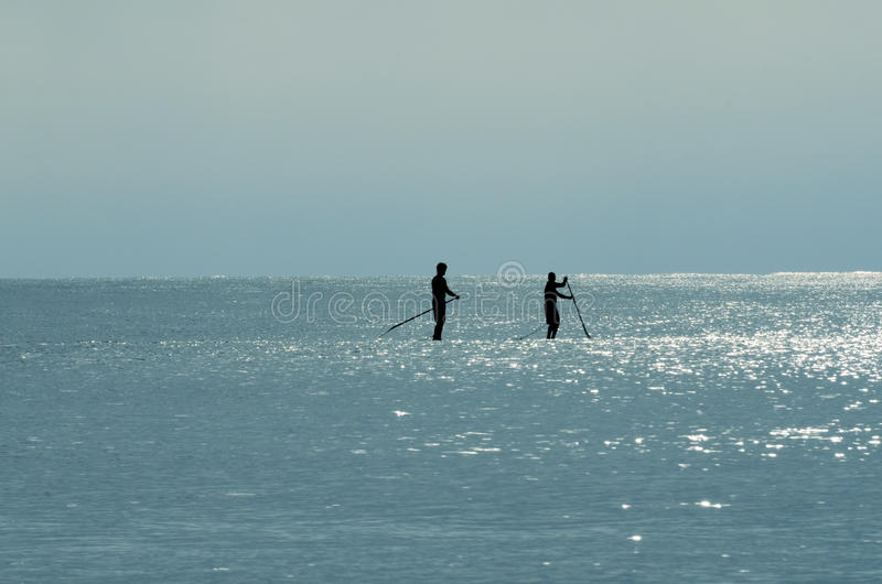 Silhouette of Two Paddle Boarders. Out in the ocean waters during the early morning rising sun royalty free stock photo
