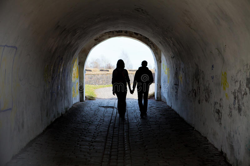 Silhouette of two people royalty free stock photo