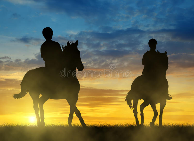 Silhouette two riders on horse vector illustration