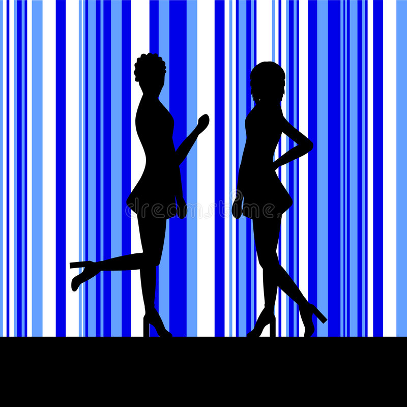 Download Silhouette of a two women stock vector. Image of casual - 628452