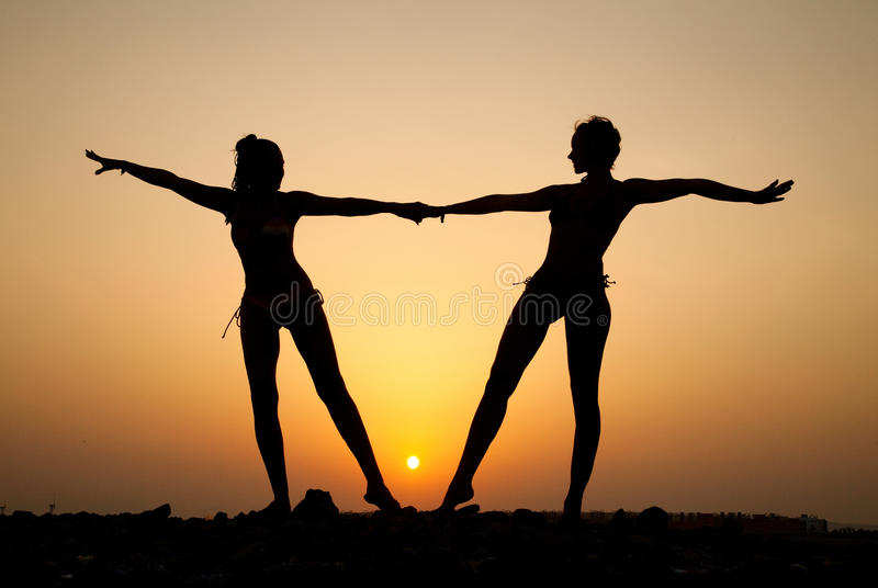 Silhouette Of Two Young Women Stock Photography