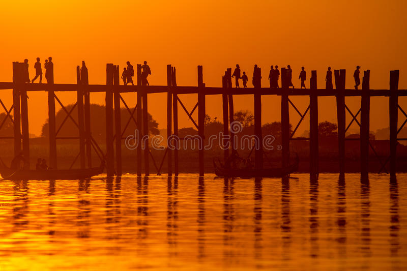 Download Silhouette Of U Bein Bridge At Sunset Stock Photo - Image: 29535122