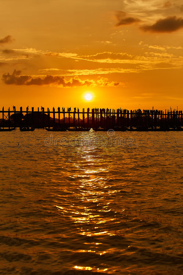 Silhouette of U bein bridge at sunset Amarapura ,Mandalay. Myanmar royalty free stock photo