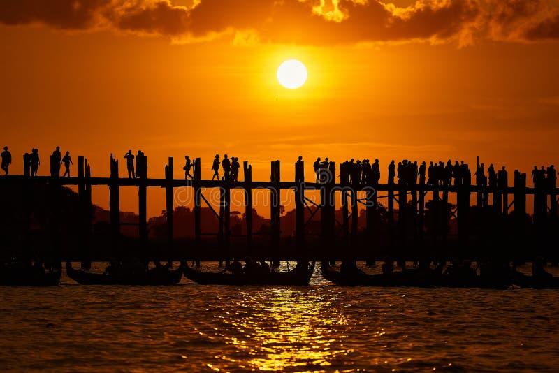 Silhouette of U bein bridge at sunset Amarapura ,Mandalay. Myanmar royalty free stock images