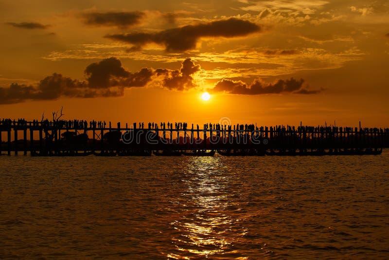 Silhouette of U bein bridge at sunset Amarapura ,Mandalay. Myanmar stock photos