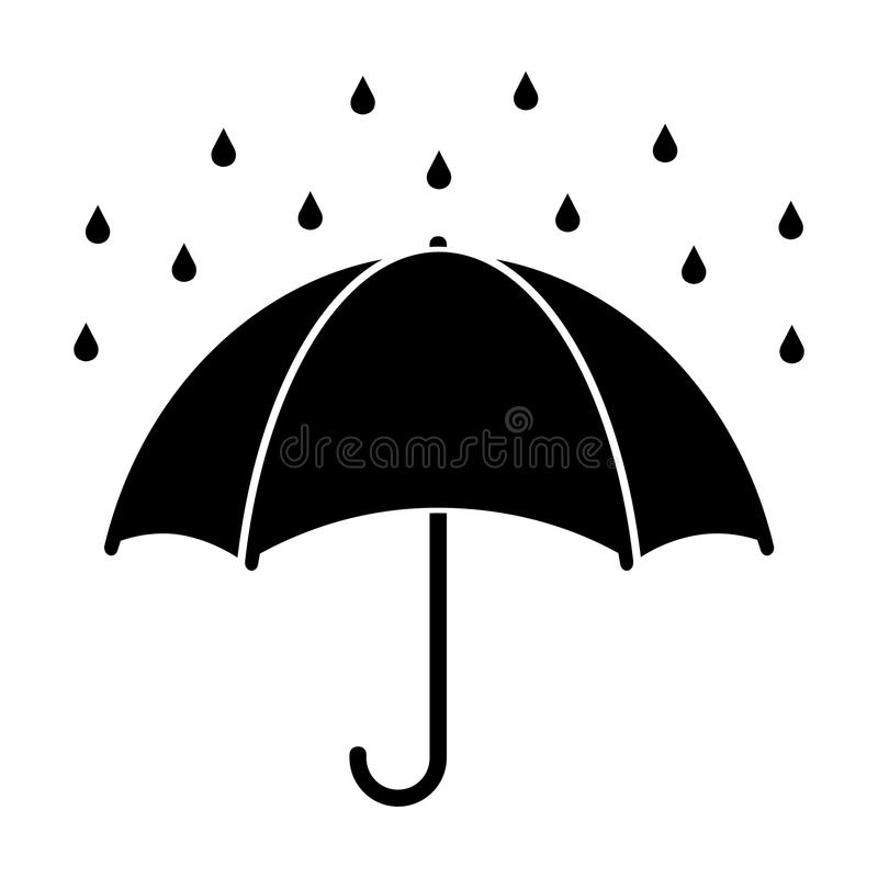 Silhouette of umbrella with raindrops isolated on white. Rain protection symbol royalty free illustration