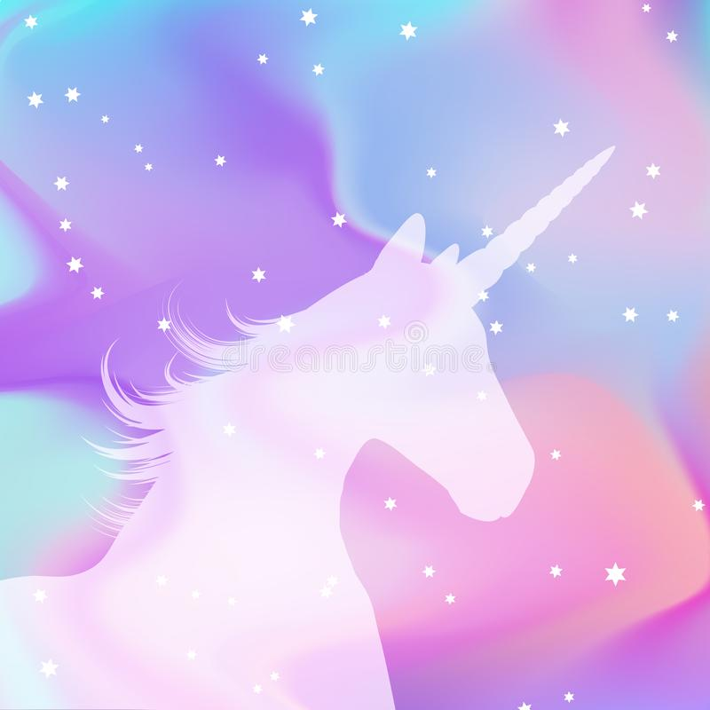 Silhouette of a unicorn on a holographic background royalty free illustration