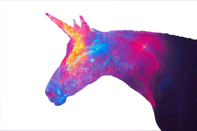 Silhouette of a unicorn - the mythical animal. Image in profile, isolated on a white background and filled with a blurred royalty free illustration