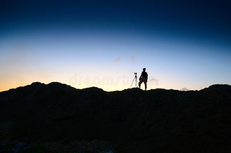 Silhouette of unidentified local people at Jubakar pantai. Kelantan. Malaysia. Silhouette unidentified local people jubakar beach tumpat kelantan malaysia pan royalty free stock image