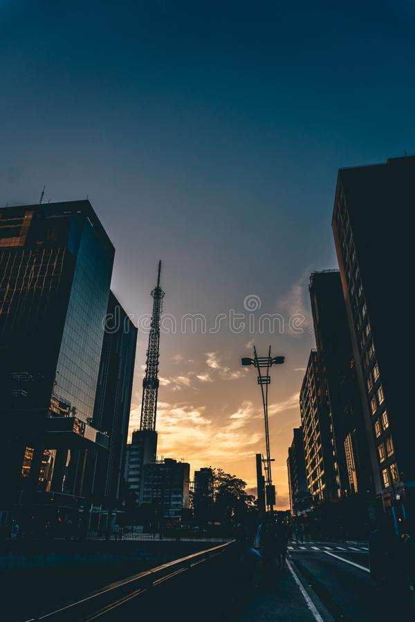 Silhouette of urban skyline royalty free stock photography