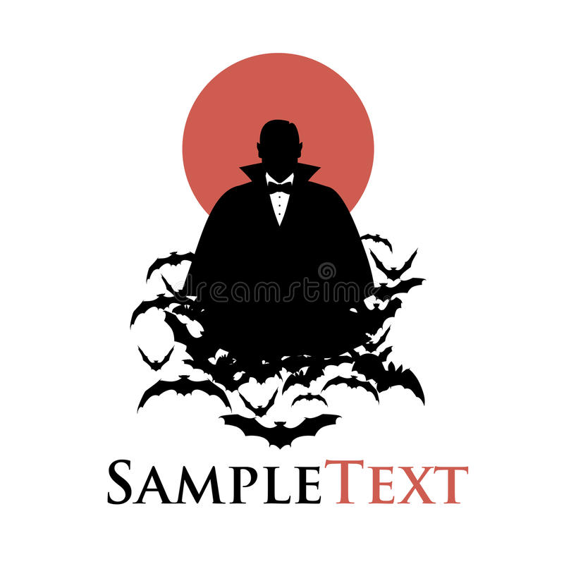 Silhouette of vampire on a cloud of bats and red moon royalty free illustration