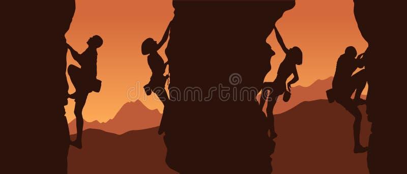 Silhouette van een klimmer vector illustratie