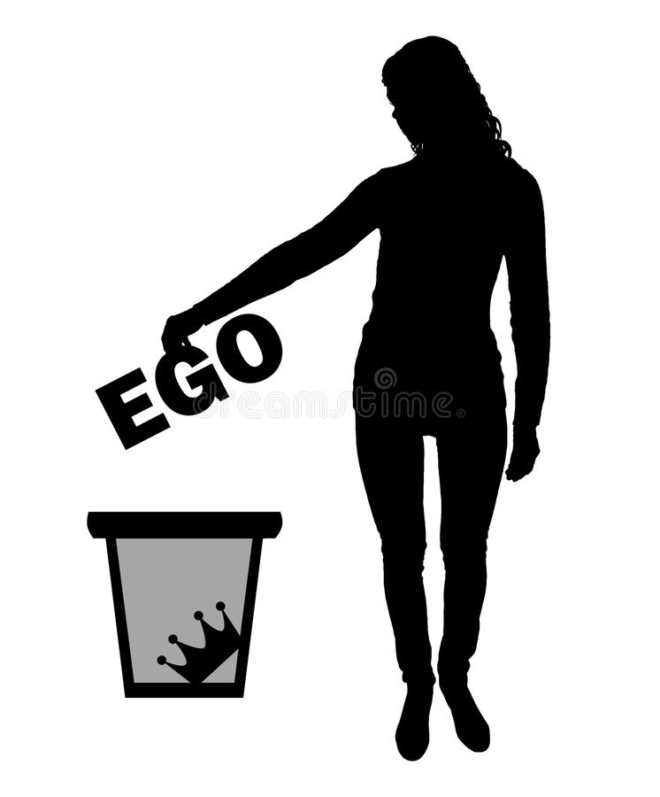 Silhouette vector of a woman throws the word ego into the garbage bin vector illustration