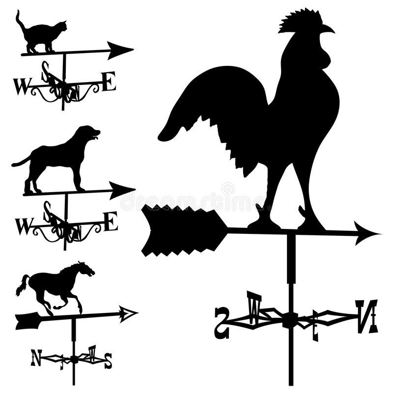 silhouette vektorweathervanes vektor illustrationer